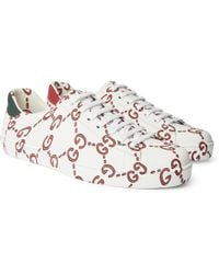 Gucci - New Ace Printed Leather Sneakers - Lyst