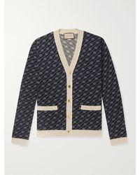 Gucci Slim-fit Logo-jacquard Cotton And Silk-blend Cardigan - Blue