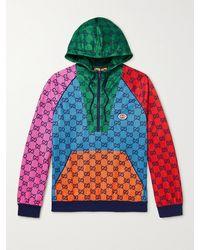 Gucci Colour-block Logo-print Tech-jersey Half-zip Hoodie - Multicolour