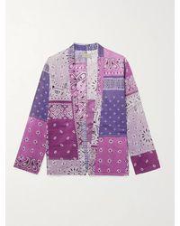 Kapital Kakashi Patchwork Bandana-print Cotton-gauze Shirt - Purple