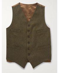 Kingsman Oxford Slim-fit Prince Of Wales Checked Wool Waistcoat - Green