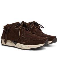 Visvim Fbt Prime Runner Suede And Mesh Sneakers - Brown