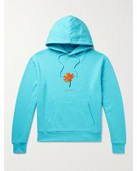 Jacquemus Embellished Organic Cotton-jersey Hoodie - Blue