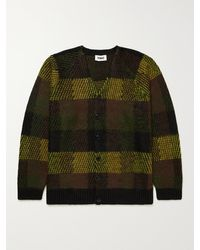 YMC Left Back Checked Knitted Cardigan - Brown