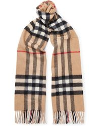 Burberry | Fringed Checked Cashmere Scarf | Lyst