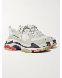 Balenciaga Men's Triple S Leather And Mesh Trainers - White