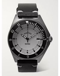 BAMFORD LONDON Mayfair Brushed Stainless Steel And Leather Watch - Metallic