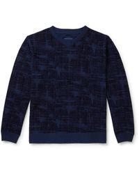 Blue Blue Japan Oboro Koushi Flocked Loopback Cotton-jersey Sweatshirt - Blue