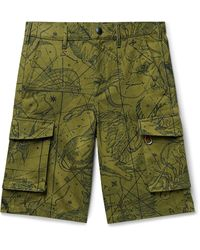 Givenchy Printed Cotton-twill Cargo Shorts - Green