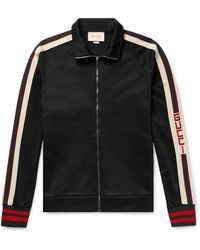 Gucci Webbing-trimmed Tech-jersey Track Jacket - Black