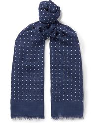 Drake's - Polka-dot Modal And Cashmere-blend Scarf - Lyst