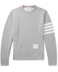 Thom Browne Intarsia Stripes Cotton Sweatshirt - Grey