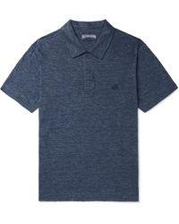 Vilebrequin Pyramid Slub Linen-jersey Polo Shirt - Blue