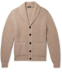 Tom Ford Shawl-collar Cable-knit Cashmere And Mohair-blend Cardigan - Multicolor