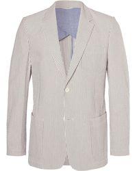 MR P. - Blue Striped Cotton-seersucker Blazer - Lyst