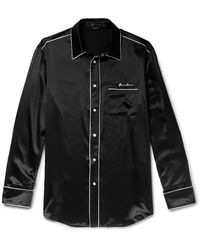 Versace Logo-embroidered Piped Silk-satin Western Shirt - Black
