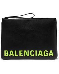 Balenciaga Logo-print Full-grain Leather Pouch - Black
