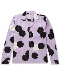 Saturdays NYC Marco Camp-collar Floral-print Lyocell Shirt - Purple