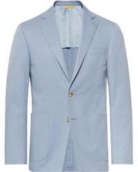 Canali - Light-blue Kei Slim-fit Stretch-cotton Suit Jacket - Lyst