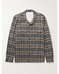 Officine Generale Jonas Camp-collar Checked Brushed Cotton-flannel Shirt - Grey