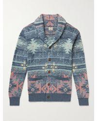 Faherty Heritage Slim-fit Shawl-collar Organic Cotton-jacquard Cardigan - Blue