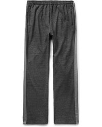 Beams Plus | - Webbing-trimmed Mélange Loopback Cotton-jersey Sweatpants - Charcoal | Lyst