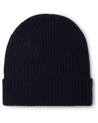 Anderson & Sheppard Ribbed Mélange Cashmere Beanie - Blue
