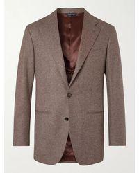 Saman Amel Slim-fit Herringbone Wool Blazer - Brown