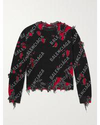 Balenciaga Distressed Intarsia Wool-blend Jumper - Black