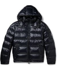 Moncler Maya Quilted Glossed-shell Hooded Down Jacket - Blue