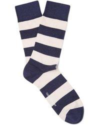 Oliver Spencer Lee Striped Stretch Cotton-blend Socks - Blue