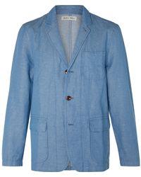 Alex Mill Unstructured Herringbone Linen And Cotton-blend Chambray Blazer - Blue