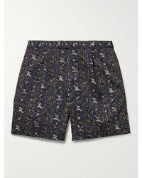 Beams Plus Pleated Printed Twill Shorts - Blue