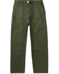 Gramicci Tapered Cropped Belted Cotton-crepe Trousers - Green