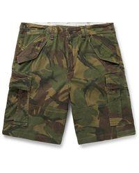 Polo Ralph Lauren Camouflage-print Herringbone Cotton Cargo Shorts - Green