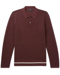 Theory - Kortes Striped Ribbed Knitted Polo Shirt - Lyst