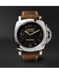 Officine Panerai - Luminor Marina 1950 3 Days Acciaio 47mm Stainless Steel And Leather Watch - Lyst