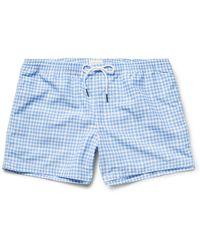 Club Monaco Arlen Slim-fit Short-length Gingham Swim Shorts - Blue