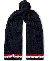 Thom Browne Striped Cable-knit Merino Wool Scarf - Blue
