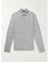 Incotex Knitted Virgin Wool Polo Shirt - Grey