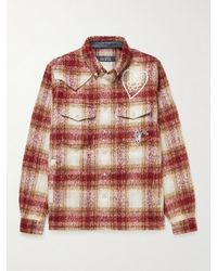 BBCICECREAM Logo-embroidered Checked Brushed-flannel Overshirt