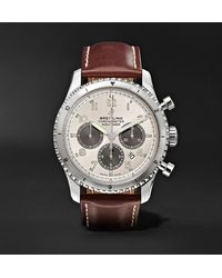 Breitling Navitimer 8 B01 Automatic Chronograph 43mm Stainless Steel And Leather Watch, Ref. No. Ab01171a1g1x1 - White