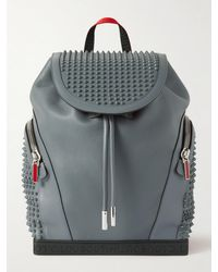 Christian Louboutin Explorafunk Spiked Rubber-trimmed Full-grain Leather Backpack - Grey