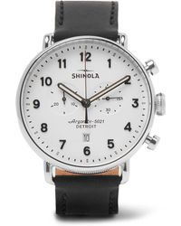 Shinola - The Canfield Chronograph 43mm Stainless Steel And Leather Watch - Lyst