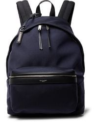 Saint Laurent City Leather-trimmed Canvas Backpack - Blue