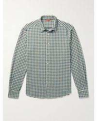 Barena Coppi Slim-fit Gingham Cotton-flannel Shirt - Blue