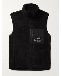 Peak Performance Logo-embroidered Shell-trimmed Fleece Gilet - Black