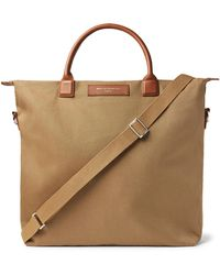 Want Les Essentiels De La Vie O'hare Leather-trimmed Organic Cotton-canvas Tote Bag - Brown