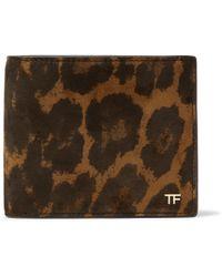 d0fa808cef Tom Ford - Leopard-print Nubuck Billfold Wallet - Lyst