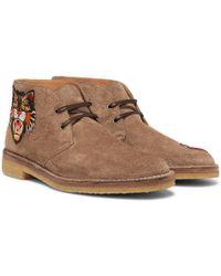 Gucci Appliquéd Suede Desert Boots - Brown